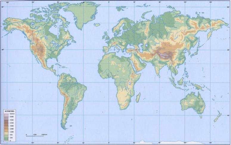 Mapa Físico Del Mundo.Mapa Interactivo Mapa Fisico Del Mundo Lengua 6º