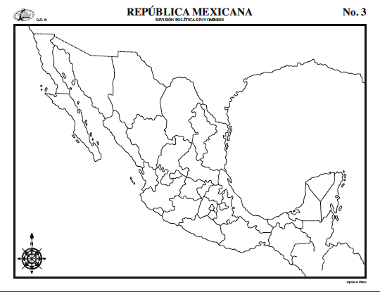 Map Quiz República Mexicana Geografía 5º Educación Primaria