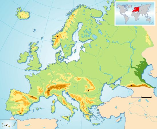 Mapa Mudo Relieve Europa.Mapa Interactivo Relief Of Europe Sociologia 6º Primaria