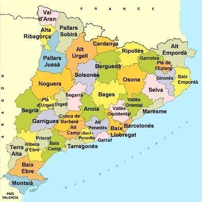 Mapa De Les Comarques De Catalunya I Capitals.Print Les Comarques De Catalunya Capitals De Comarca De