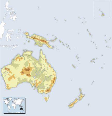 Mapa Oceania Fisico Mudo.Map Quiz Mapa Fisico De Oceania Geografia Fisica 1º