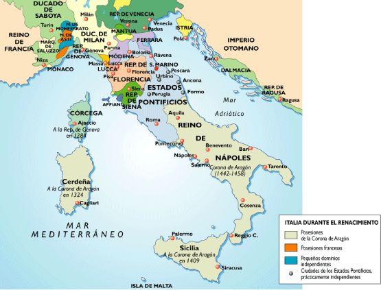 Imprimir MAPA ITALIA RENACIMIENTO. arte renacimiento italia