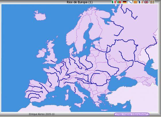 Mapa Rios De Europa.Map Quiz Rios Y Mares De Europa Mapa Europa Rios