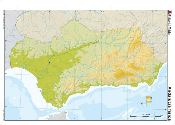 Sistemas Beticos Mapa Fisico.Imprimir Mapa Fisico De Andalucia Geografia Maria Jesus