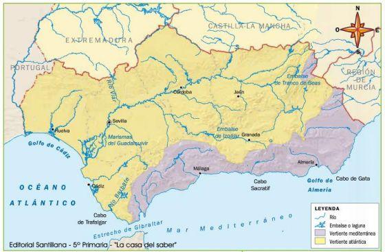 Mapa Rios De Andalucia.Mapa Interactivo Rios De Andalucia Primaria Conocimiento Del Medio Rios Andalucia