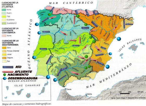 Mapa Interactivo Rios España.Mapa Interactivo Rios Y Afluentes Espanoles Geografia Rios