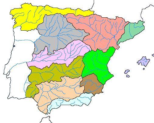 Vertientes Mapa Hidrografico De España.Mapa Interactivo Cuencas Hidrograficas Geografia Espana