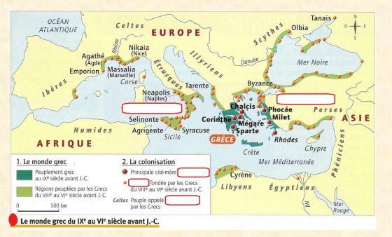 carte du monde grec antique Map Quiz: Carte du monde grec (grece antique)