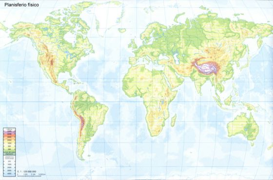 Peninsula Indostan Mapa Fisico.Print Mapa Mundi Fisico Cordilleras Biologia Rufo Lopez