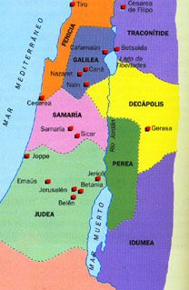 Resultado de imagen de mapa de israel  en tiempos de jesus