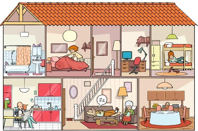 dessin pieces maison. Black Bedroom Furniture Sets. Home Design Ideas