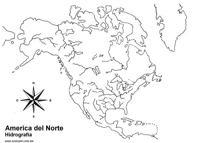 Mapa Interactivo Hidrografia America del Norte. geografía. Car...