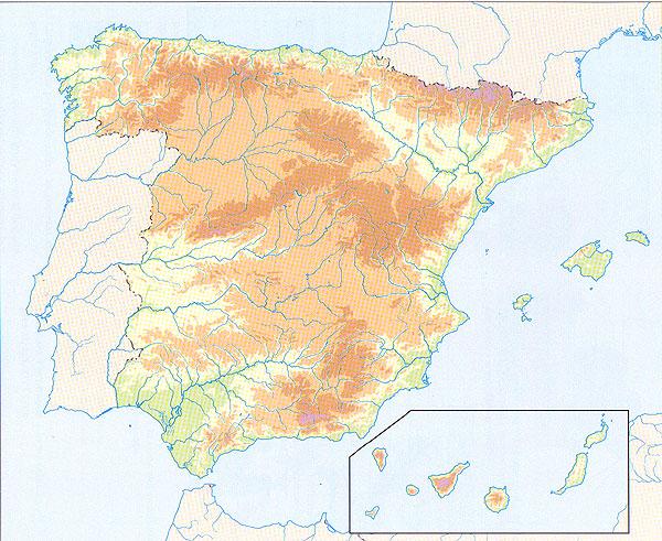Mapa Relieve España Mudo.Map Quiz Mapa Fisico Relieve Espana Geografia 3º E S O