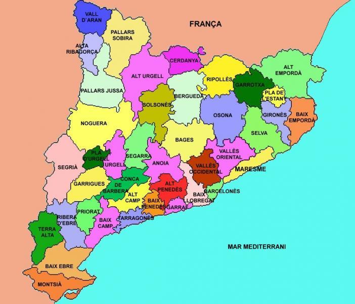Mapa De Les Comarques De Catalunya I Capitals.Map Quiz Comarques Muntanya Sociologia 4º Primaria