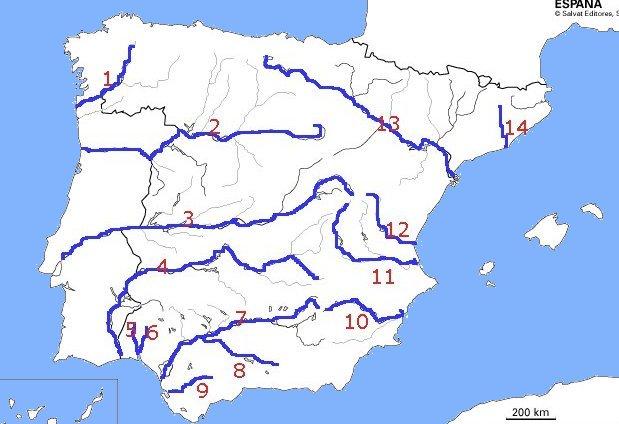 Mapa Fisico Peninsula Iberica Rios.Mapa Interactivo Rios De Espana Geografia 1º E S O