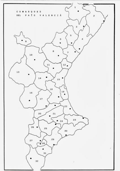 Mapa Mudo Comunidad Valenciana.Map Quiz Comarcas C Valenciana Geografia 3º E S O