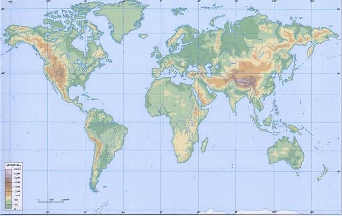 Mapa Fisic Del Mon.Map Quiz El Mon 1º E S O Geografia Relieve